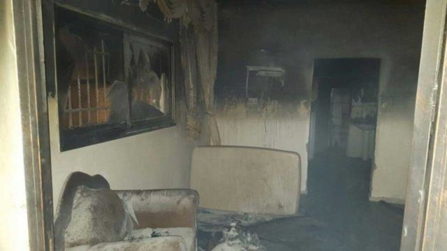 The burned-down home of the Dawabsha family in the Palestinian village of Duma